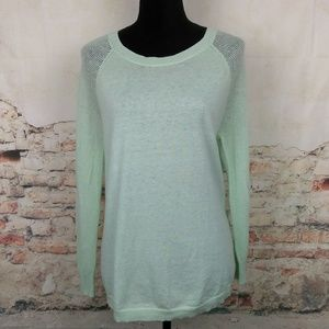 J Crew M Light Mint Green Merino Wool Sweater
